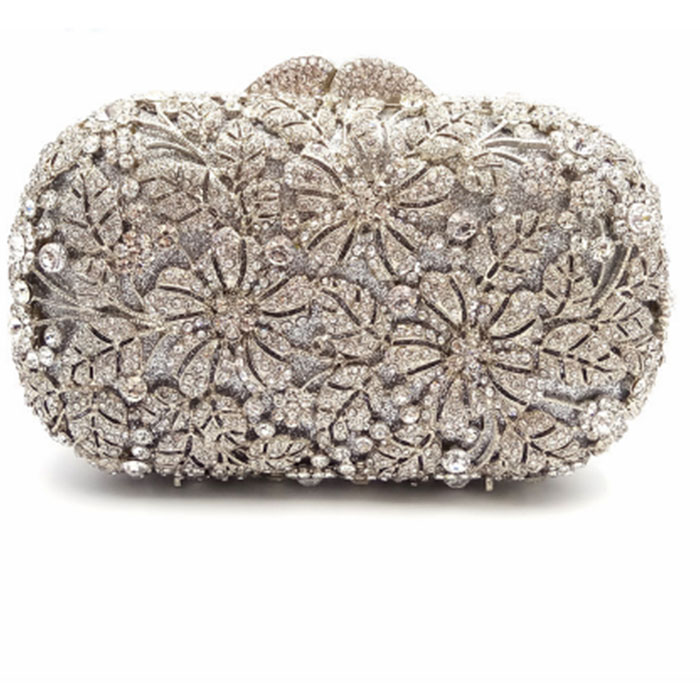 silver Rhinestones wallet Hollow Out Women Crystal Evening Bags Flower Party Dinner Metal Clutches Bridal Clutch Wedding Purse