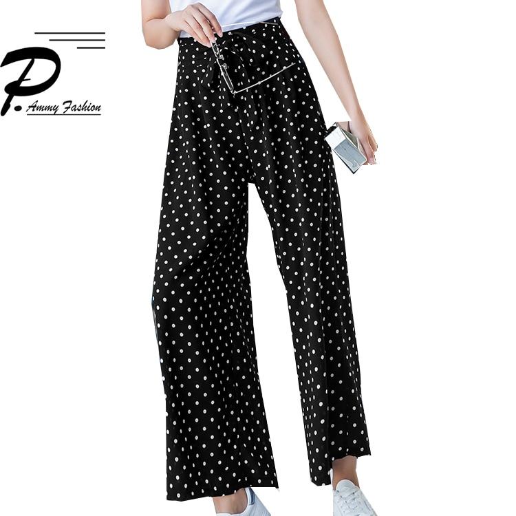 Women Summer Polka Dot Chiffon Wide Leg Pants 2019 Korean version High Waist Casual Thin Flares Pants Loose Trousers