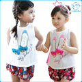 New Summer 2016 Baby T Shirts for girls Cotton Sleeveless Shoes Cartoon Print Brand Tees Spring Kids cute Tops Girl T-shirt