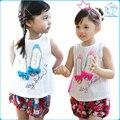 Nuevo Verano 2016 Del Bebé Camisetas para niñas de Algodón Sin Mangas zapatos de Impresión de Dibujos Animados Marca Tees Primavera Niños linda Chica Remata camiseta