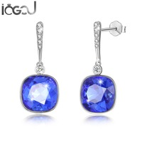 IOGOU 925 Sterling Silver Square Shaped Blue/Green/Yellow/Purple Color Crystal From Swarovski Wedding Bridal Party Free Shipping