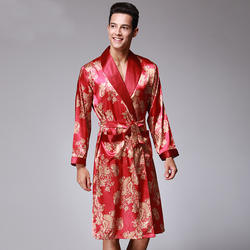 Новый атласный шелк халат мужской Демисезонный пижама с длинными рукавами халат Высокое качество халат пикантные шелковые кимоно Hombre