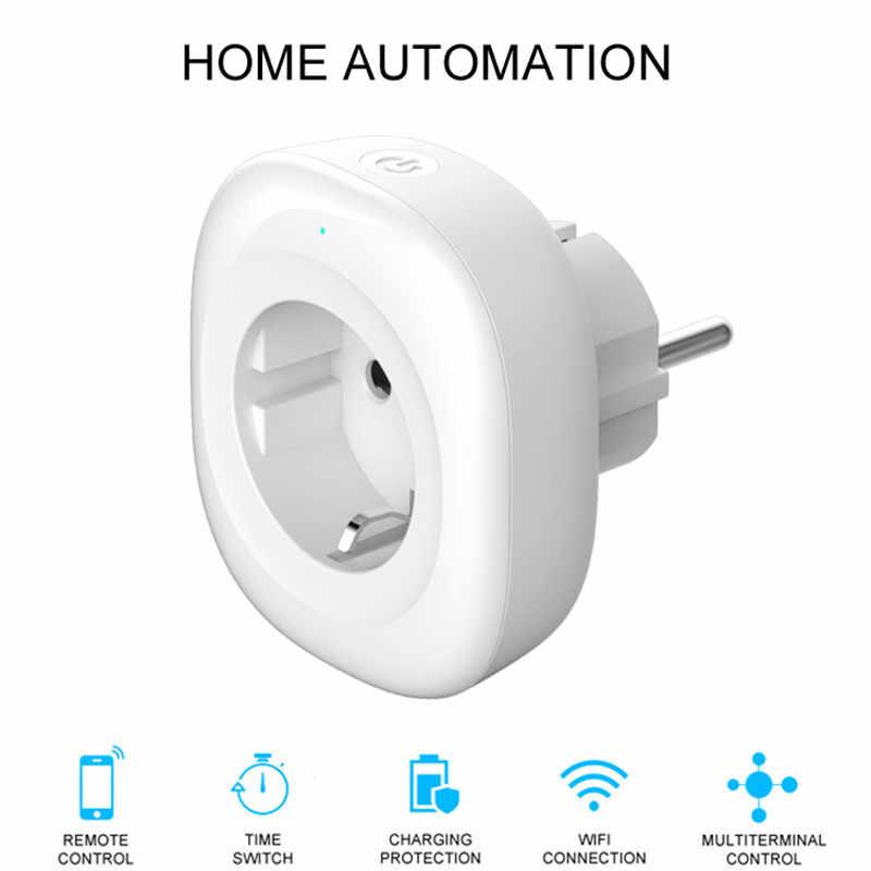 Mini Wifi Năng Lượng Màn Hình Ổ Cắm Thông Minh EU Cắm Điện Di Động ỨNG DỤNG Điều Khiển từ xa Làm Việc với Amazon Alexa Google Nhà Không trung tâm Yêu Cầu
