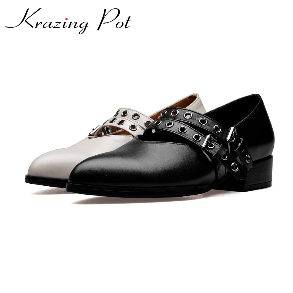 KRAZING POT 2017 new fashion genuine leather metal rivets Fasteners buckle shallow preppy style med heels  pointed toe pumps L10 krazing pot new fashion brand shoes genuine leather slip on pointed toe preppy style metal fasteners low heels women pumps l85