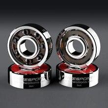 JAPY White Black Ceramic Speed Inline Skates Bearing 608zz 8*22*77mm Deep Groove Skating 7 Balls ABEC-9 Skateboard Bearing H002
