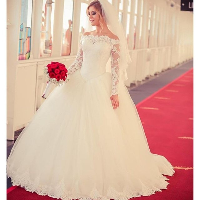 87a87547b Princess New Vintage Backless Tulle Full Sleeve Boat Neck Ball Gown Wedding  Dresses