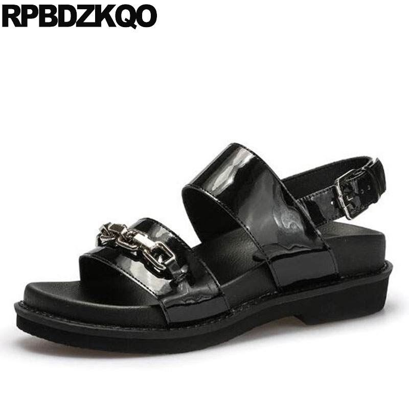 Designer Sandals Women Luxury 2018 Slingback Runway Open Toe Chain Summer Shoes Ladies Wedge High Quality Genuine Leather Black