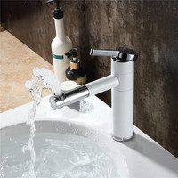 1 Pcs Mrosaa Bathroom Basin Faucet Sinks Mixer Tap With Rotating Spout White Painting Brass Made