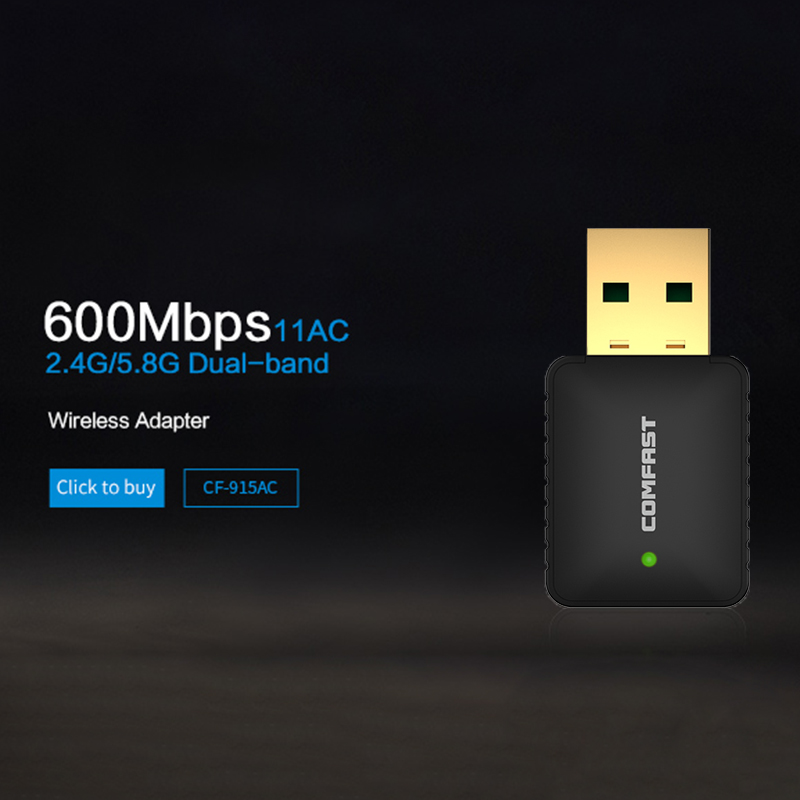 Wireless wifi adapter 600mbps 11AC 802.11ac dual band usb wi fi adapter wireless network card portable wifi COMFAST CF-915AC