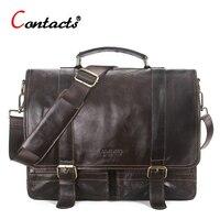 CONTACT S Genuine Leather Men Messenger Bag Handbag Shoulder Bags Large Capacity Male Handbags Briefcases Laptop
