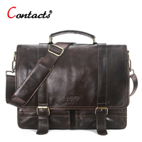 CONTACT S Genuine Leather Men Messenger Bag Handbag Shoulder Bags Large Capacity Male Handbags Briefcases Laptop