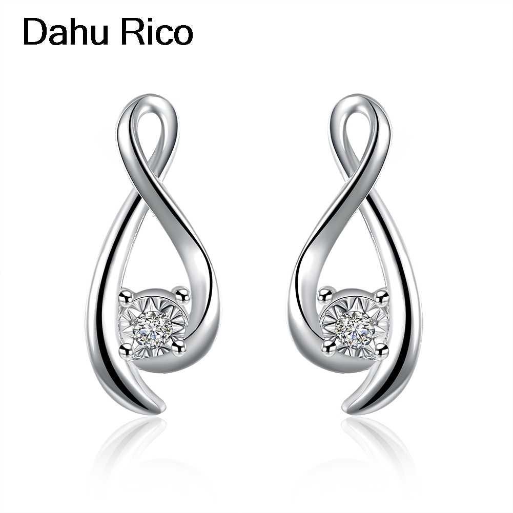 หู studs ohrstecker kupe oorbel สีขาว Cubic Zirconia srebrna บัลแกเรีย revenda ที่ดีที่สุดขาย 2018 ผลิตภัณฑ์ Dahu RICO ต่างหู