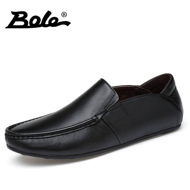BOLE New Handmade Genuine Leather Men Loafers 37-45 Large Size Shoes Men Fashion Walking Slip on Shoes Flats Men Driving Shoes new fashion autumn solid color men shoes leather low slip on men flats oxford shoes for men driving shoes size 38 44 yj a0020