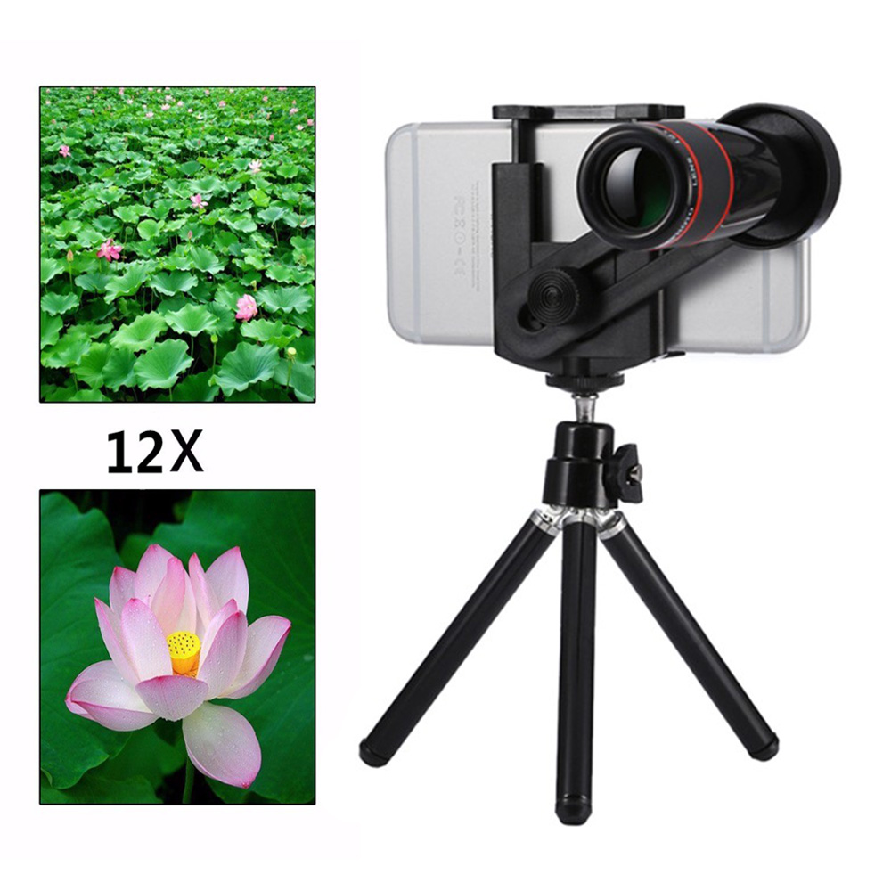 2017 Phone camera lens Kit 12X Zoom Telephoto Lenses Telescope Lentes With Mini Tripod For Samsung S5 S6 S7 S7 S8 edge Note 4 5