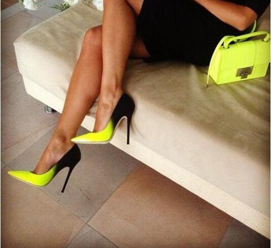 Free Ship Hot Selling Sexy Women Pumps Pointed Toe Black Lemon ...