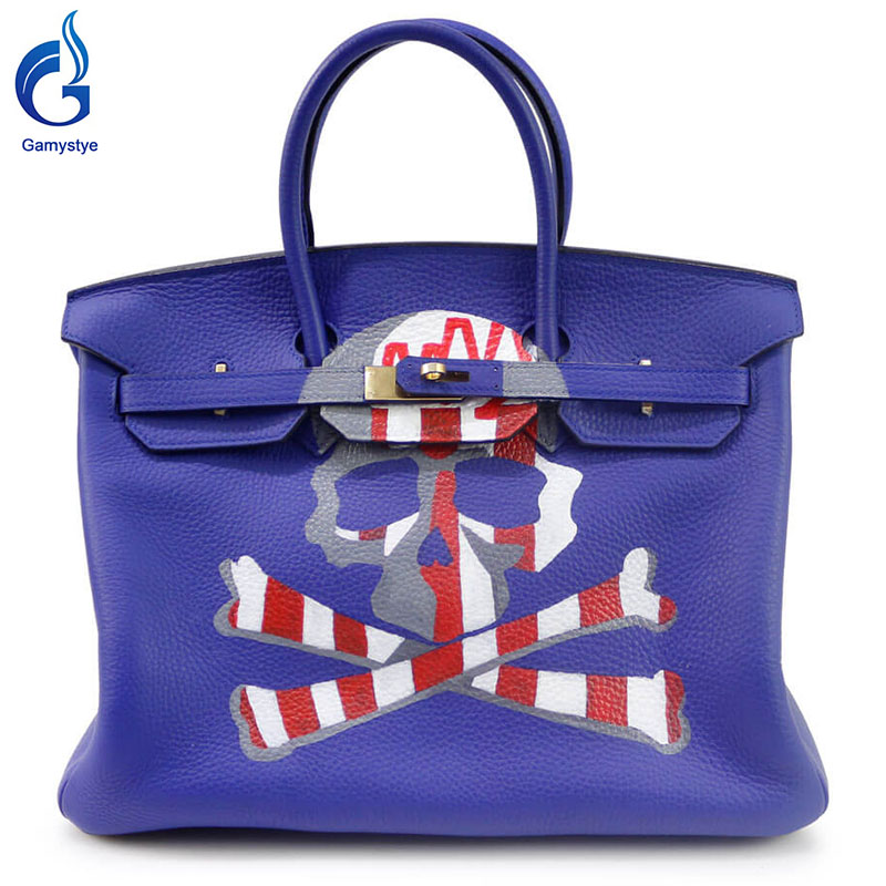 Blue handbag with Skull brand 2016 Women Genuine Leather Handbag Messenger Bag Hand Painted art bags Custom Design tote YG