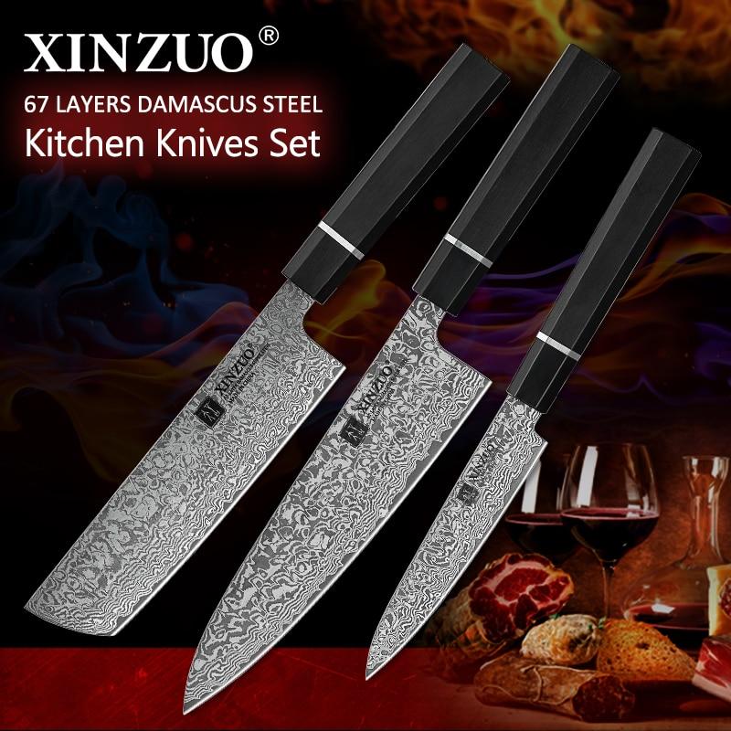 XINZUO ครัวมีดเหล็กดามัสกัส 5'7'8.5' Multifunctional ญี่ปุ่นสไตล์ผลไม้/Paring Nakiri มีดเชฟเนื้อครัวเครื่องมือ-ใน ชุดมีด จาก บ้านและสวน บน   1