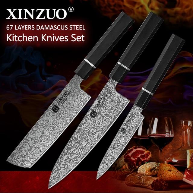 XINZUO 包丁ダマスカス鋼 578。5 多機能和風フルーツ/ペアリング Nakiri シェフナイフ肉キッチンツール