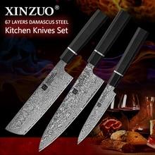 XINZUO Kitchen Knives Damascus Steel 578.5 Multifunctional Japanese Style Fruit/Paring Nakiri Chef Knife Meat Kitchen Tools