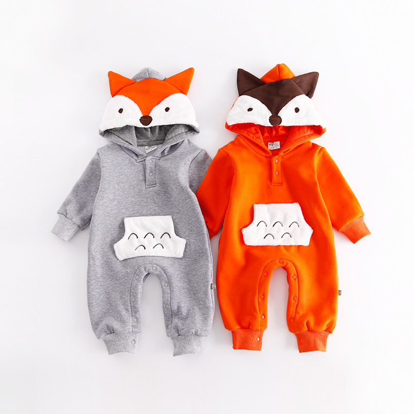 Cute Toddler Infant Baby Boy Girl Warm Romper 3D Fox Pocket Long Sleeve Velvet Jumpsuit Cotton Winter Hooded Overall for Newborn puseky 2017 infant romper baby boys girls jumpsuit newborn bebe clothing hooded toddler baby clothes cute panda romper costumes