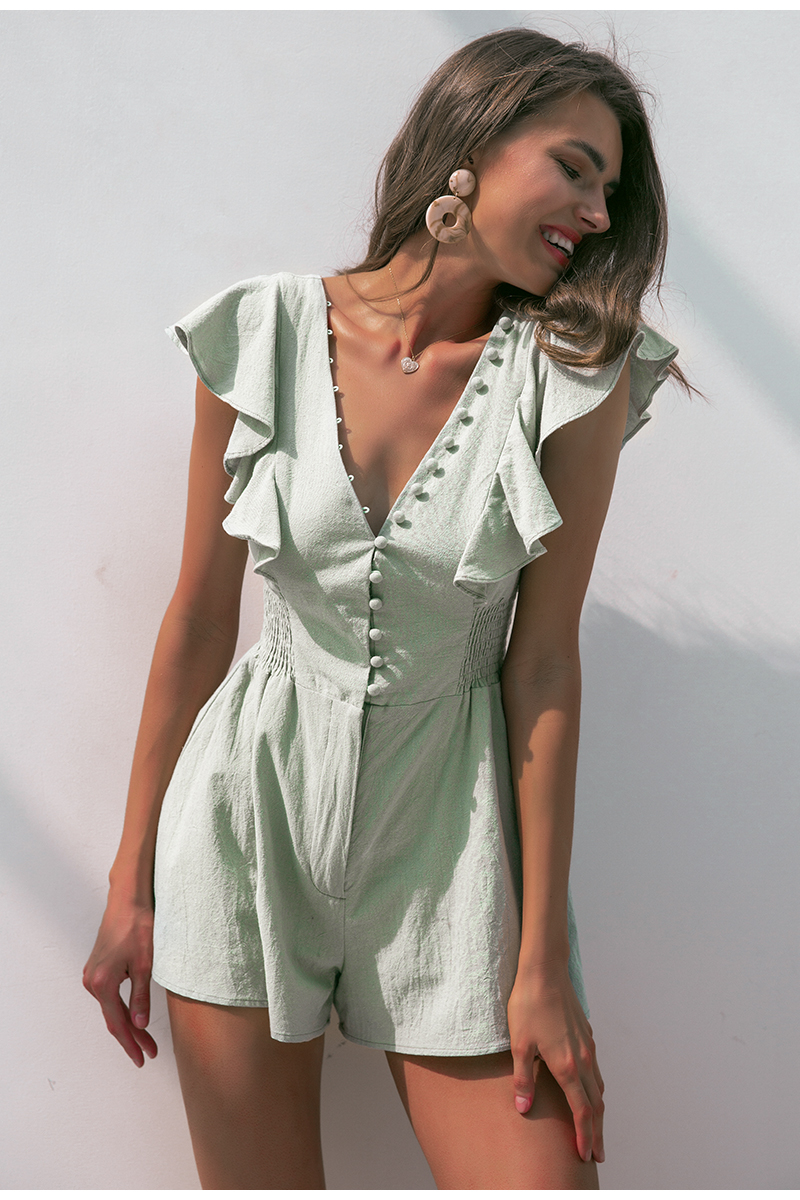 Elegant v neck women romper Summer buttons ruffle cotton short jumpsuit