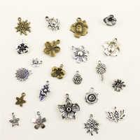 10 pçs jóias feminino planta flores charme diy jóias acessórios charme diy acessórios
