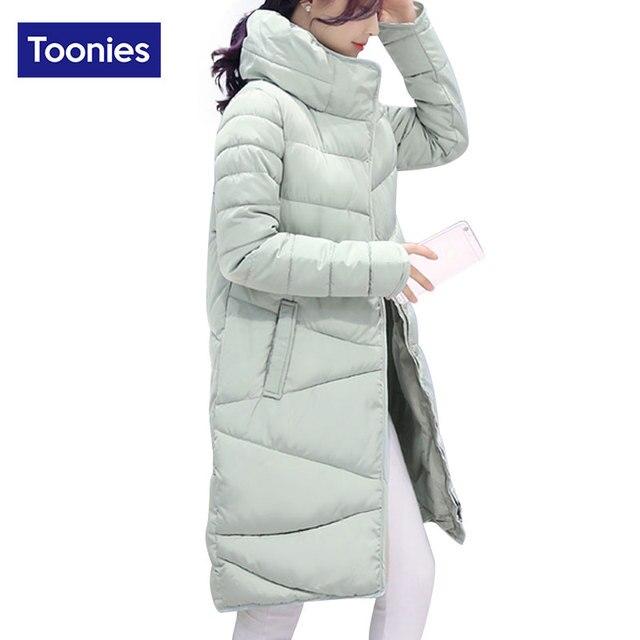 Tooniesエレガントスタイルパーカー女性のコート2017冬スリムストレート厚いタートルネック綿ダウンジャケット4色ロングオーバーコート