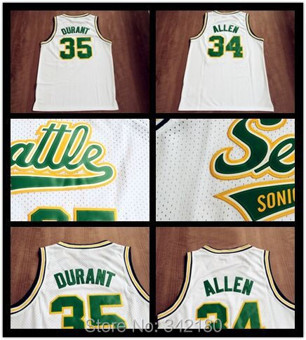 54a025afa7b Seattle Supersonics #34 Ray Allen #35 KD Kevin Durant White Throwback Retro  Vintage Basketball jersey,Embroidered Logos