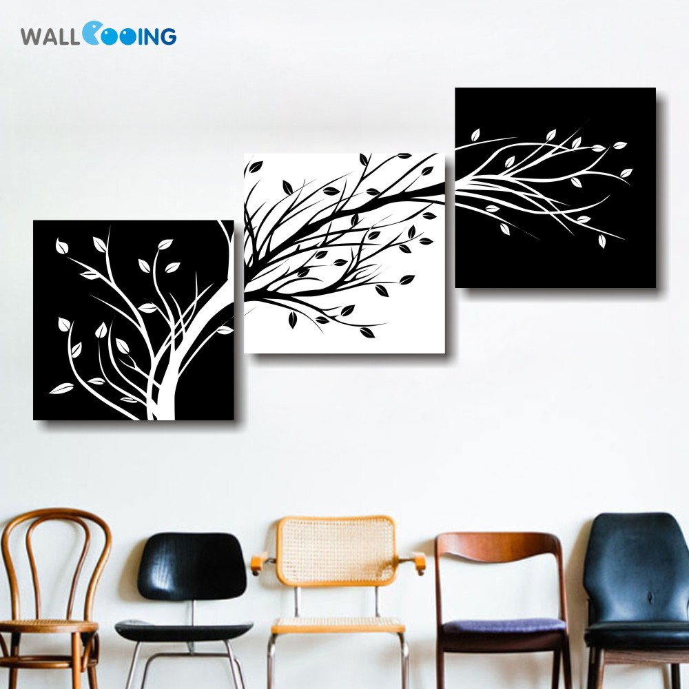 wall cooing 3 panel black and white canvas painting living