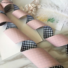 Kewgarden 1-1/2 / 1 40mm 25mm Plaid Satin Ribbons Double Face Cotton Riband Handmade Tape DIY Bowknot Accessories  4m/lot