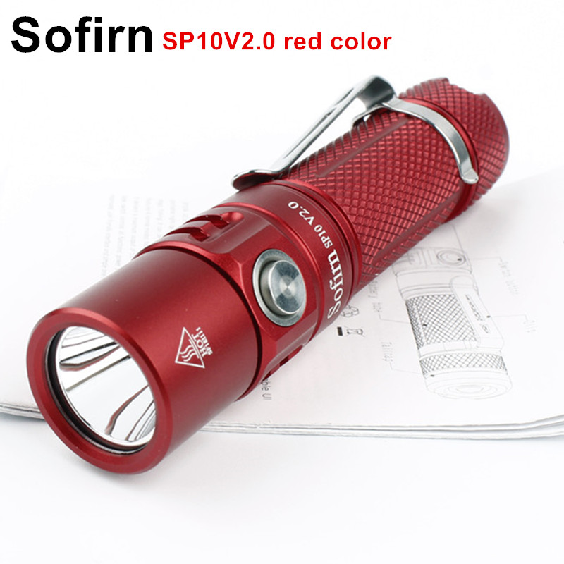 Sofirn SP10V2.0 Mini LED Flashlight AA 14500 Tactical Pocket Light Cree XPG2 550lm Keychain Flash Light Waterproof Red color sport car style 2 led white light flashlight keychain w sound effect red 4 x lr41