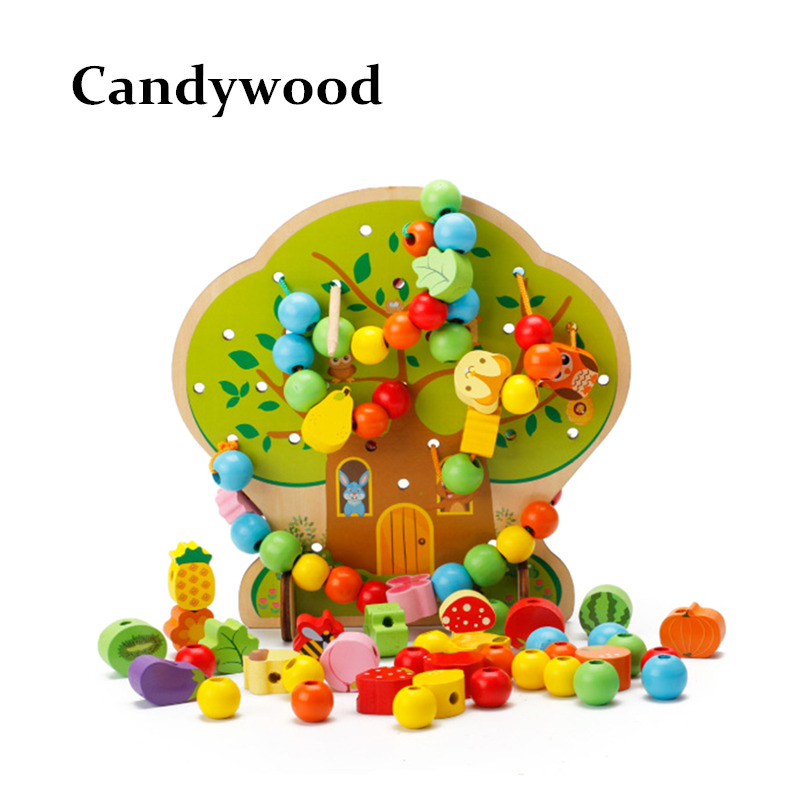 Colorful Multifunction Tree Wooden Beads Toys Education Wooden Toys Animal Fruit Beads Montessori Toy For Children 120pcs cartoon wooden jigsaw puzzle education toy for kid children baby montessori wooden toys