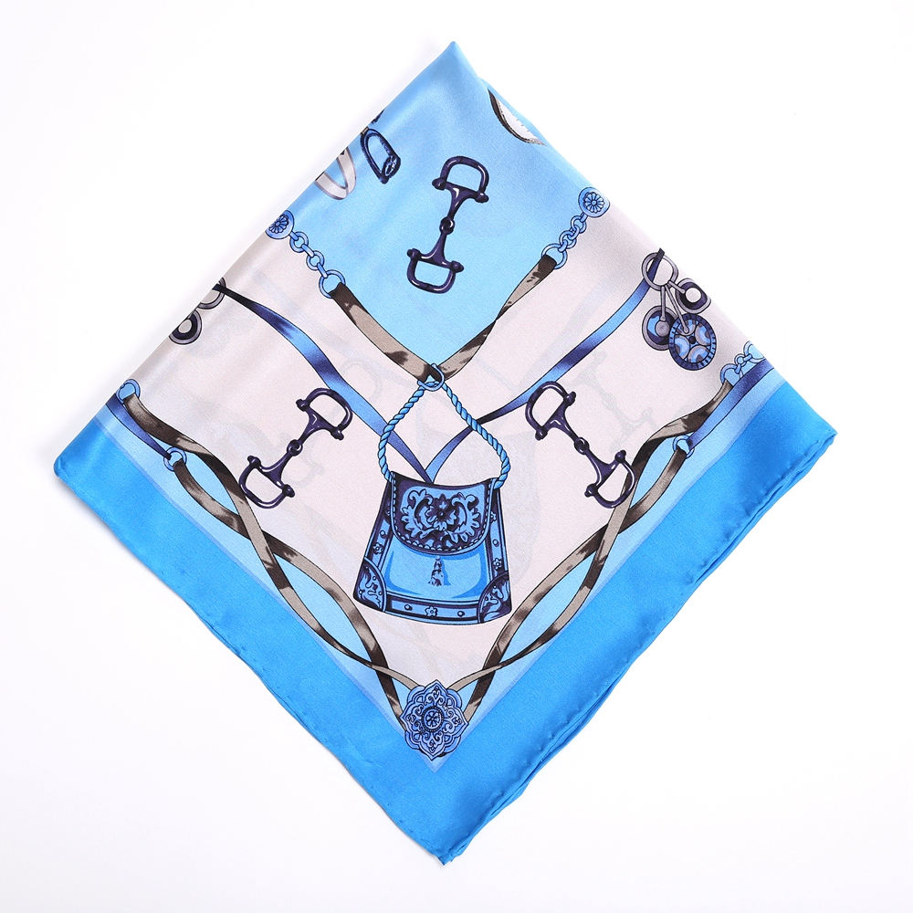 Harness Printed 100% Silk   Scarf   for Hair Wrapping Neckerchief Bandana Women Head Scarfs   Wraps   Small Square Silk   Scarves   55cm