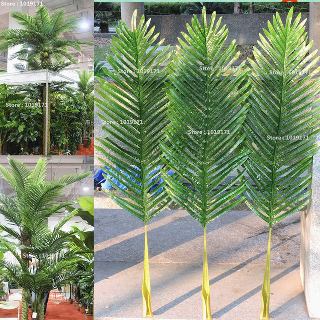 Large Latex Christmas Artificial Patio Sago Phoenix Coconut Palm Plant Tree  Branch Frond Wedding Home Furniture