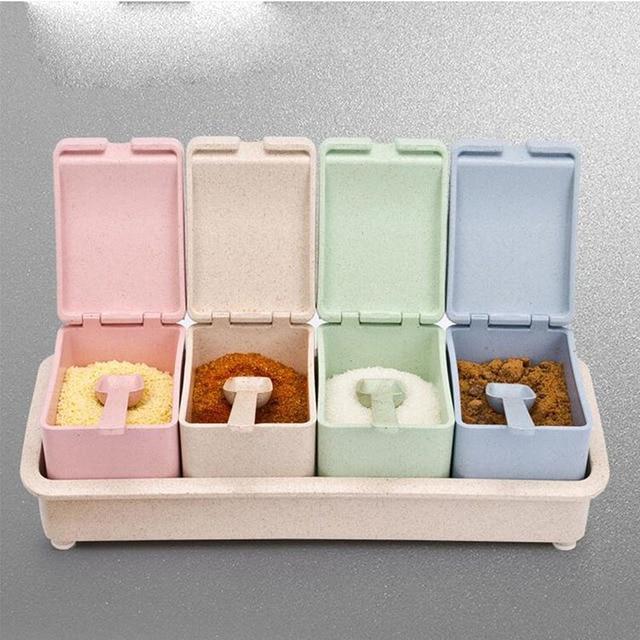 Captivating 1 Set Kitchen Spice Storage Box Sugar Salt Pepper Boxes Colorful Storage  Container Plastic PP Jar