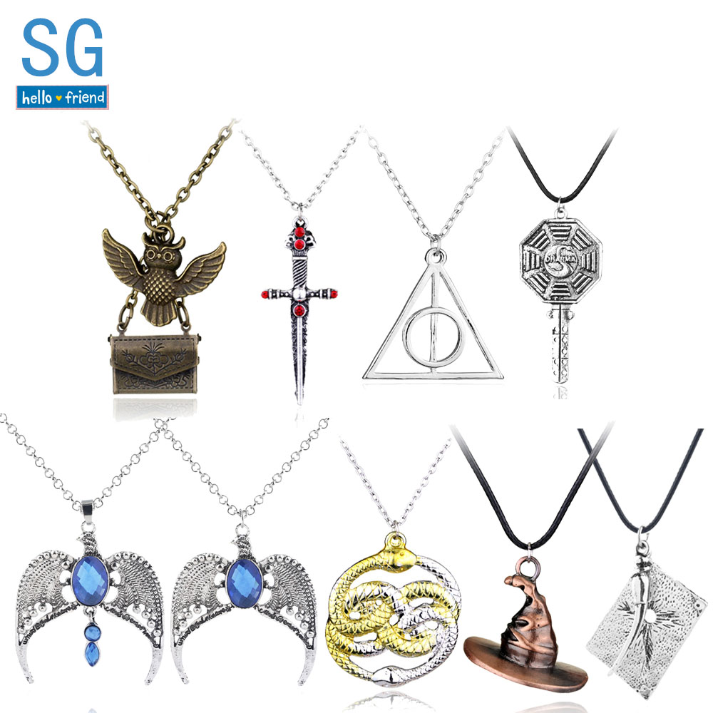 SG HP <font><b>Necklaces</b></font> <font><b>Hogwarts</b></font> Sorting Hat Gryffindor Sword Time Turner Ravenclaw Diadem Horcrux Locket Hedwig Jewelry image