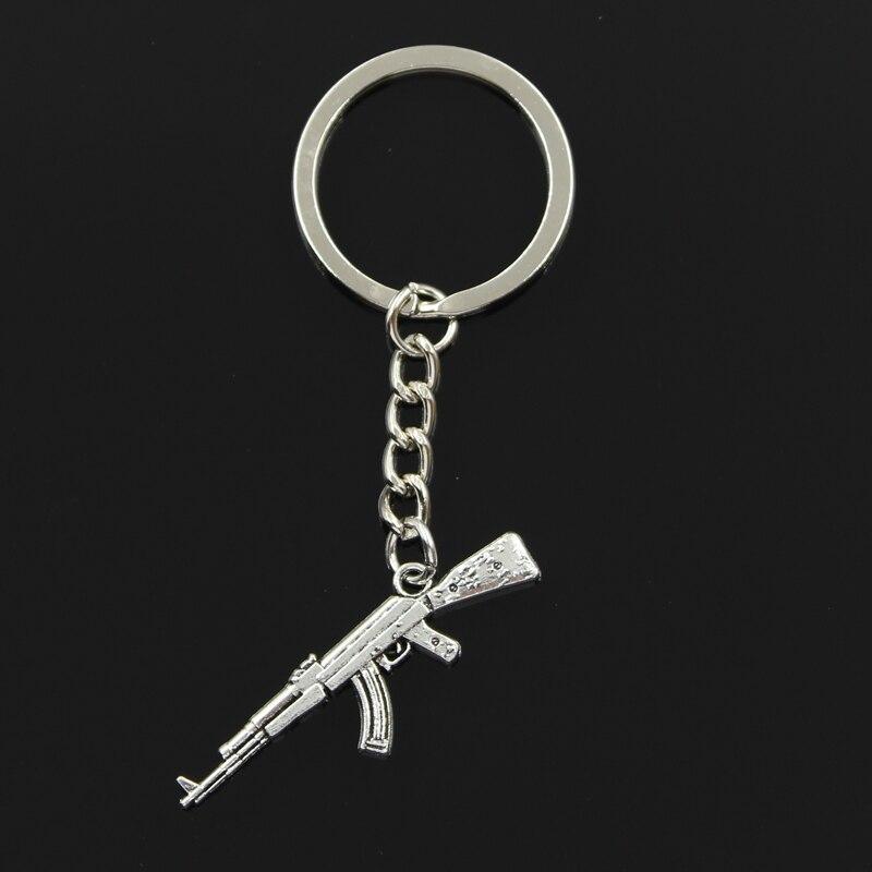Keychain 44x15mm Machine Gun Assault Rifle Ak-47 Pendants DIY Men Jewelry Car Key Chain Ring Holder Souvenir For Gift