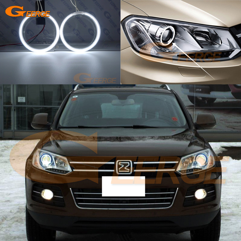 For Zotye T600 2014 2015 2016 Excellent angel eyes Ultra bright headlight illumination CCFL Angel Eyes kit Halo Rings t 2014