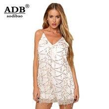Aodibao 2017 Spring Summer Newest Vintage Tassel Sequined Club Sexy Sling V-Neck Dress Women Evening Loose Short Bodycon Dress