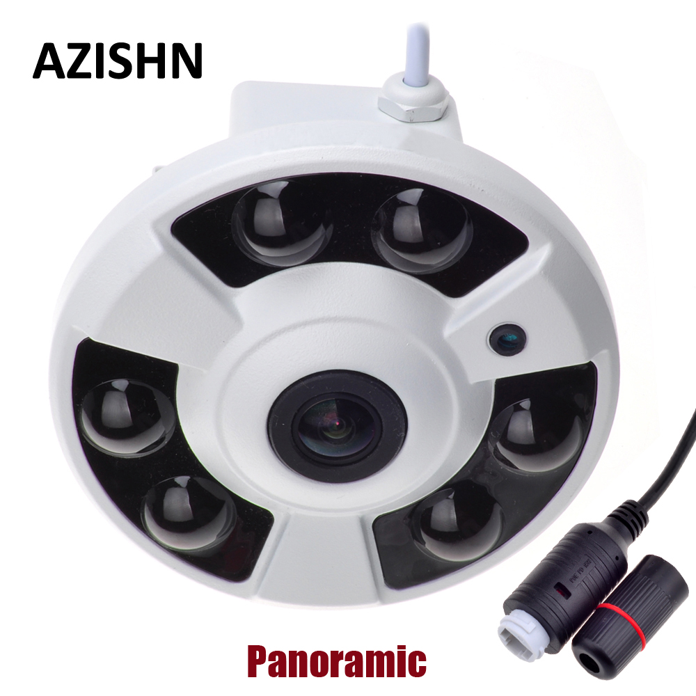 AZISHN Panoramic IP Camera 720P/960P/1080P Wide Angle FishEye 5MP 1.7MM Lens  CCTV Indoor ONVIF 6 ARRAY IR LED  POE CameraAZISHN Panoramic IP Camera 720P/960P/1080P Wide Angle FishEye 5MP 1.7MM Lens  CCTV Indoor ONVIF 6 ARRAY IR LED  POE Camera