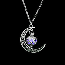 FAMSHIN 2017 New Hot Moon Glowing Necklace, Gem Charm Jewelry,Silver Plated,Halloween Gifts