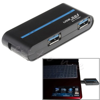 1Pc Portable High speed 4 Ports USB 3.0/2.0 External Hub Adapter for PC Laptop GT