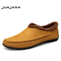 JUNJARM Winter Cow Suede Men Casual Shoes Design Slip On Comfort Men Loafers Driving Shoes Warm
