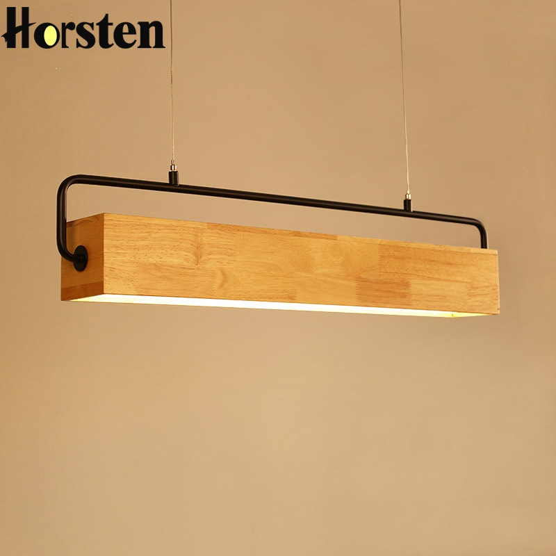 Us 140 02 35 Off Horsten Wooden Rectangular Pendant Lights Anese Style Modern Lighting For Bar Dining Room Home Office Fixtures In