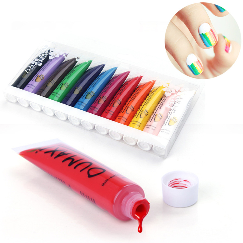 12 Colors/Set Acrylic Paint Nail Art Polish 3D Paint Decoration Nail Design UV Gel Color Tube RP1-5 fashionable oumaxi 12 colors acrylic nail paints for 3d nail art drawings and designs