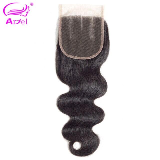 Ariel brasileño 100% cabello humano onda del cuerpo 4*4 Cierre de encaje 8-22 pulgadas Color Natural no cabello Remy tejido envío gratis