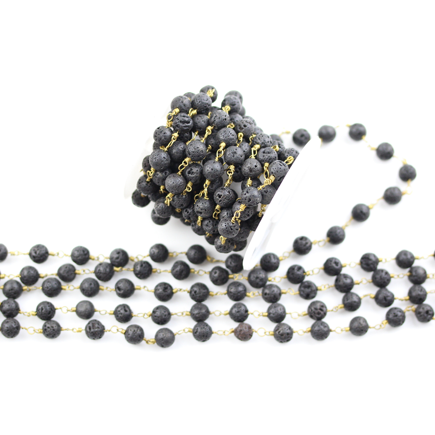 8mm Black Lava Beads Rosary Chains Findings Bulk,Round Lava Wire Wrapped Plated Bronze Copper Lava Chains Crafts Necklace 5meters 6mm cross gold copper wire wrapped multi color turquoises round howlite rosary chains crafts bracelet necklace bulk bh12