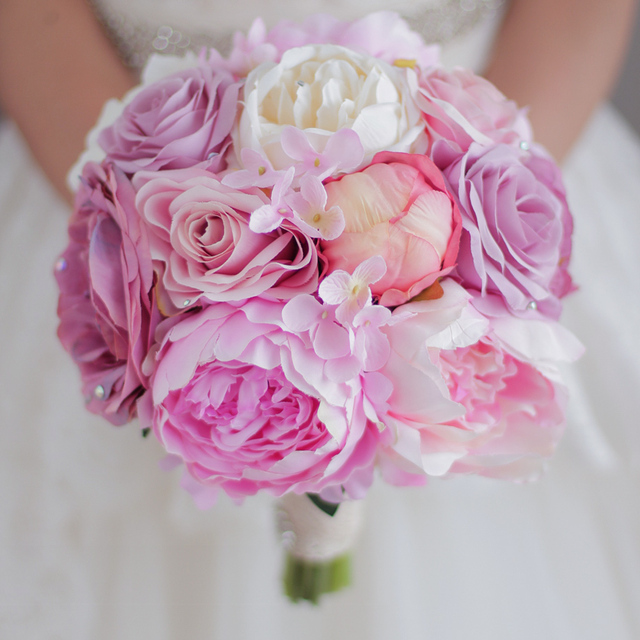New Pink Wedding Bouquet Artificial Peony Flower Wedding Decor Hot ...