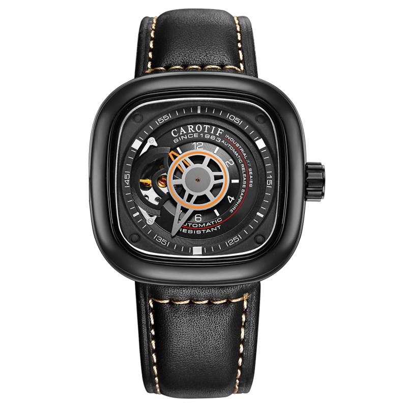Carotif casual lederen mechanische horloges hand - Herenhorloges