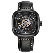 Carotif casual leather mechanical watches hand wind